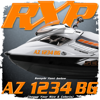 Sea Doo RXP Font Registration, Choose Your Own Colors  (2 included)