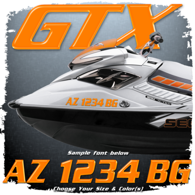 Sea Doo GTX Font Registration, Choose Your Own Colors  (2 included)