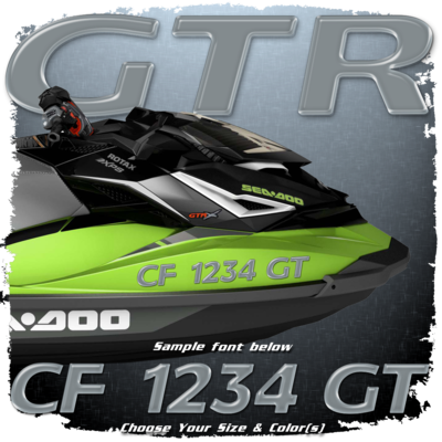 Sea Doo GTR Font Registration, Choose Your Own Colors  (2 included)
