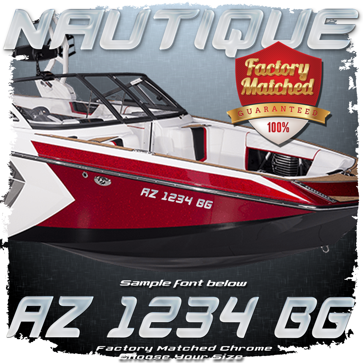 Nautique Registration (2 included), Factory Matched Chrome