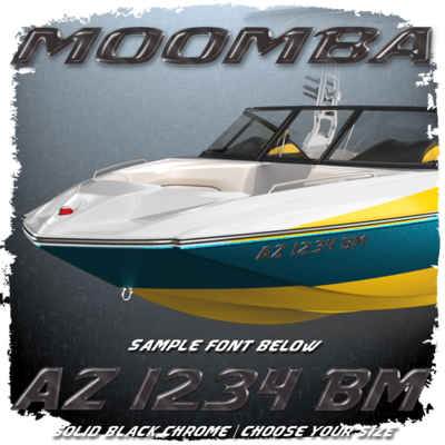 Moomba Registration (2 included), Factory Matched Black Chrome