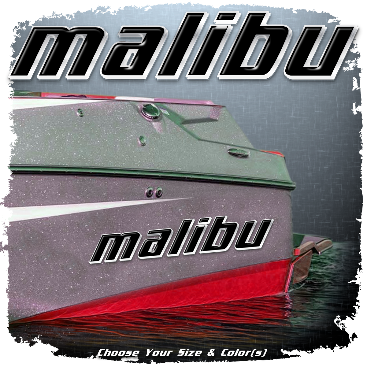Domed Malibu Decal, Old Logo, Choose Your Size & Color (1 Decal Included)