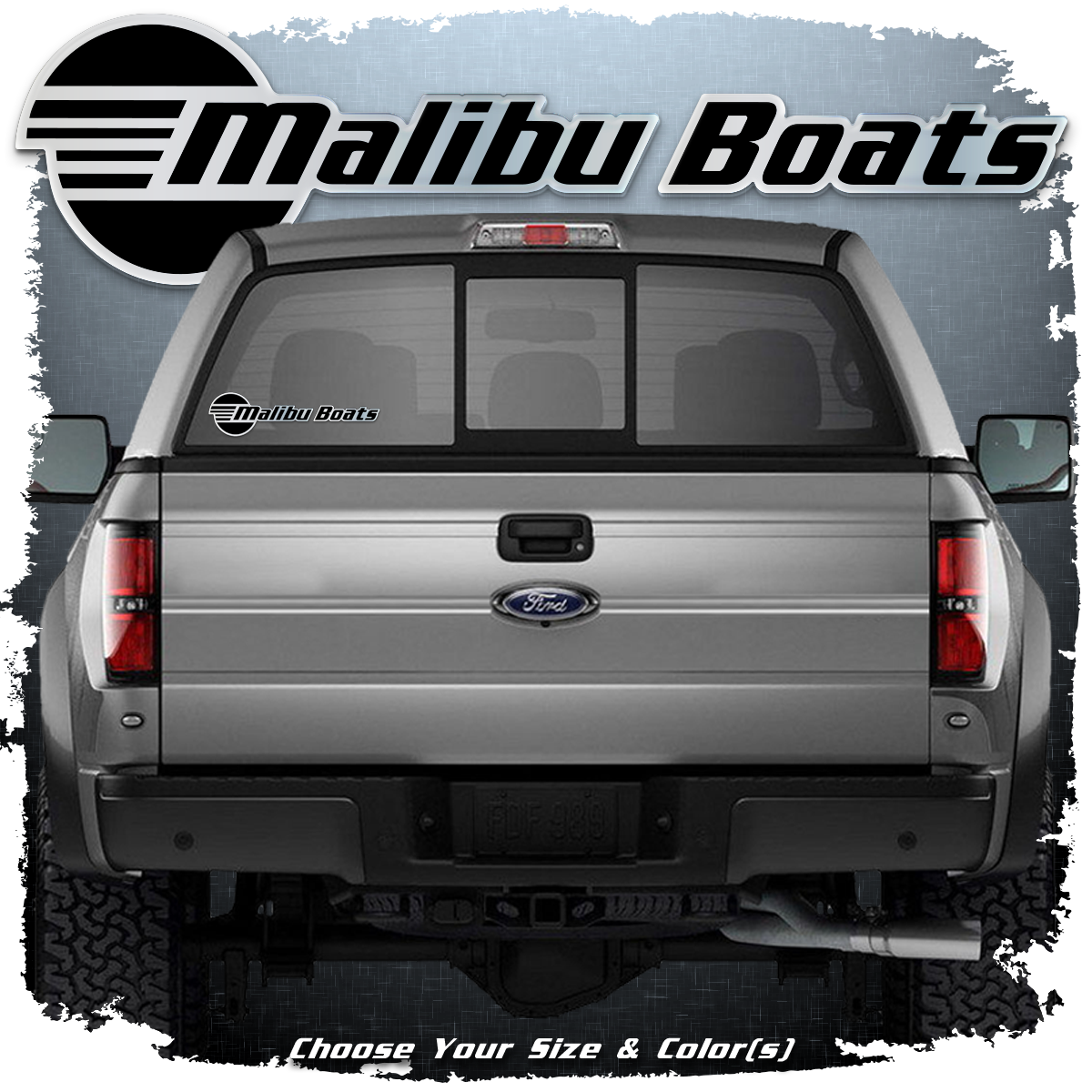 Domed Malibu Boats Window Decal, Choose Your Size & Color(s)