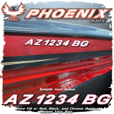 Phoenix Registration, Factory Matched White, Red, Chrome & Black (2 included)