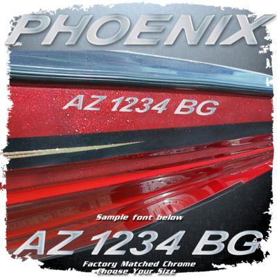 Domed Registration Numbers in the Phoenix Font, Factory Matched Chrome (2 included)