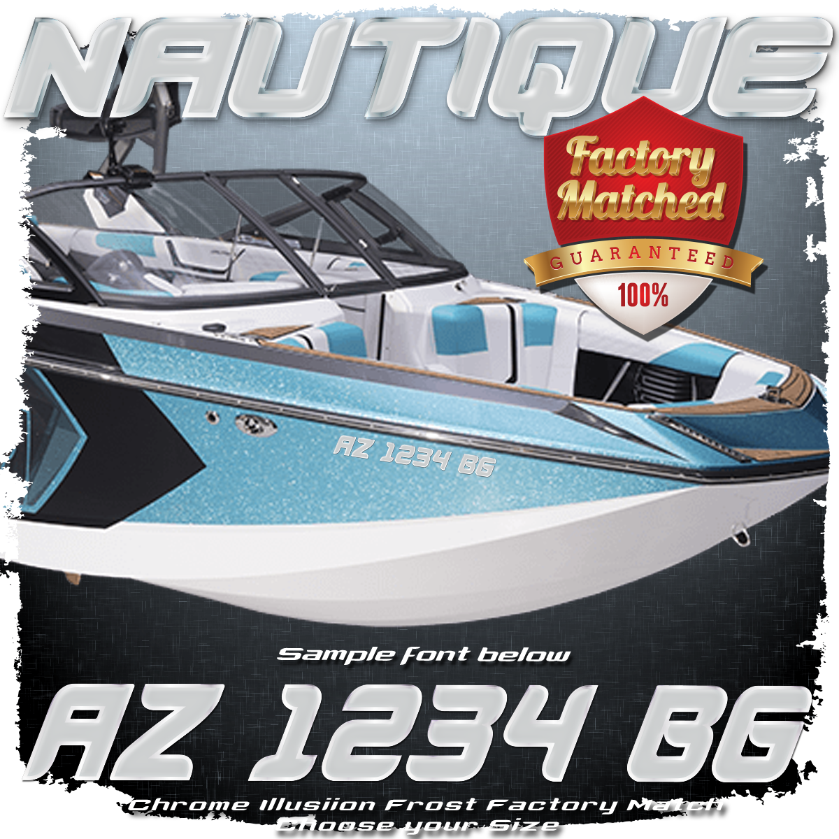 Nautique Registration (2 included), Chrome Illusion Frost