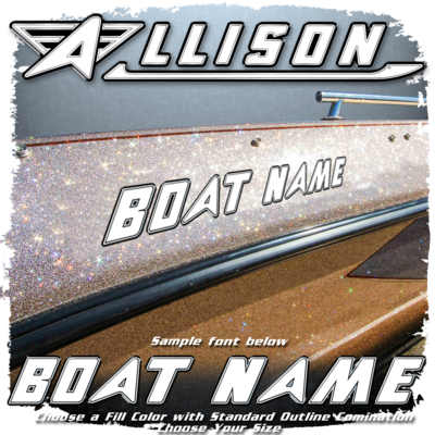 Domed Boat Name in the Allison Font, Choose Your Own Fill Color with a Black/Chrome/Black Outline Combo