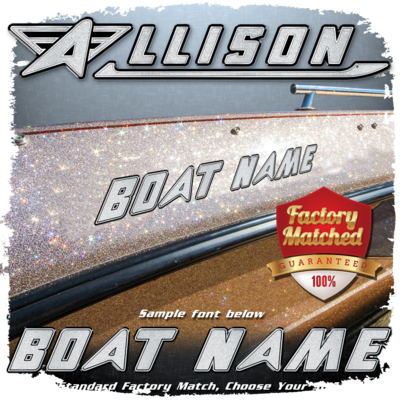 Domed Boat Name in the Allison Font, Factory Matched Colors