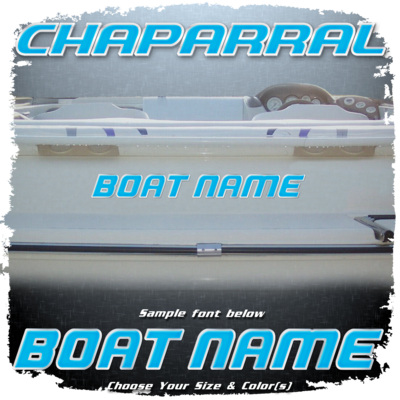 Domed Boat Name in the Chaparral Font, Choose Your Own Colors