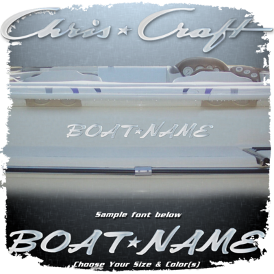 Domed Boat Name in the Chris Craft Font, Choose Your Own Colors