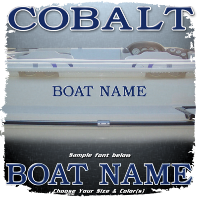 Domed Boat Name in the Cobalt Font, Choose Your Own Colors