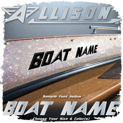 Domed Boat Name in the Allison Font, Choose Your Own Colors