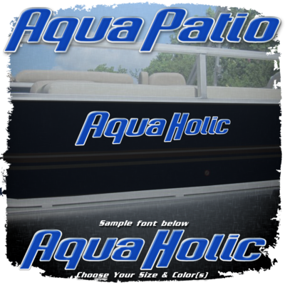Domed Boat Name in the Aqua Patio Font, Choose Your Own Colors