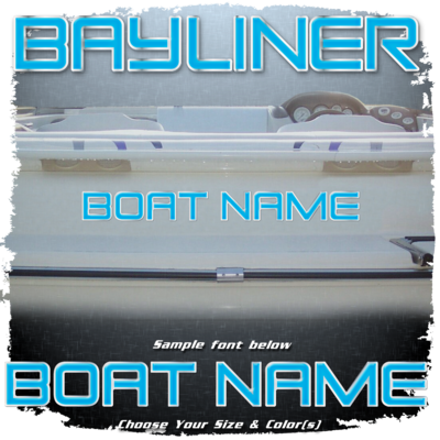 Domed Boat Name in the Bayliner Font, Choose Your Own Colors