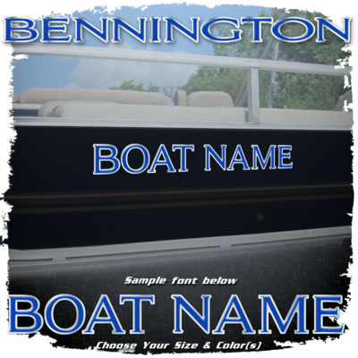 Domed Boat Name in the Bennington Font, Choose Your Own Colors