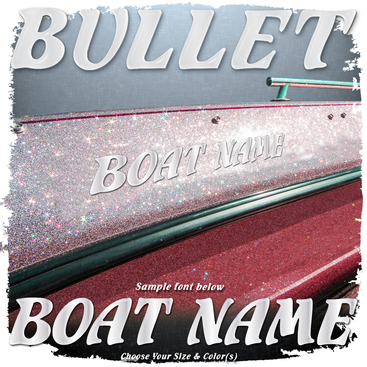 Domed Boat Name in the Bullet Font, Choose Your Own Colors