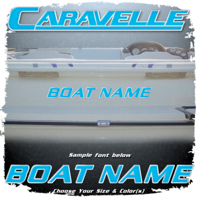 Domed Boat Name in the Caravelle Font, Choose Your Own Colors