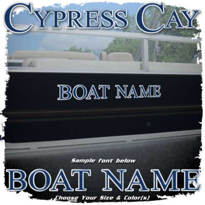 Domed Boat Name in the Cypress Cay Font, Choose Your Own Colors