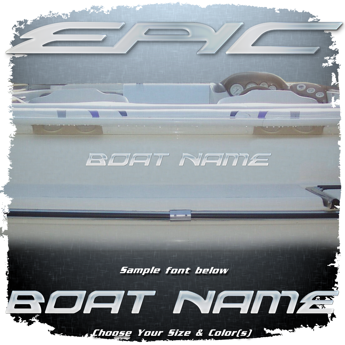 Domed Boat Name in the Epic Font, Choose Your Own Colors