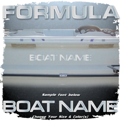Domed Boat Name in the Formula Font, Choose Your Own Colors