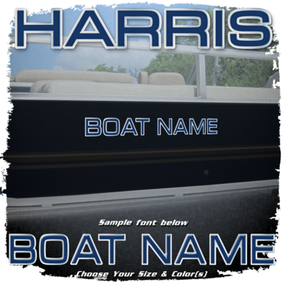 Domed Boat Name in the Harris Font, Choose Your Own Colors