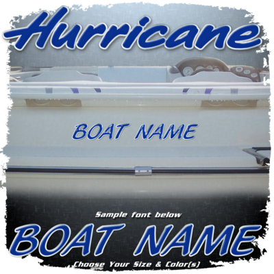 Domed Boat Name in the Hurricane Font, Choose Your Own Colors