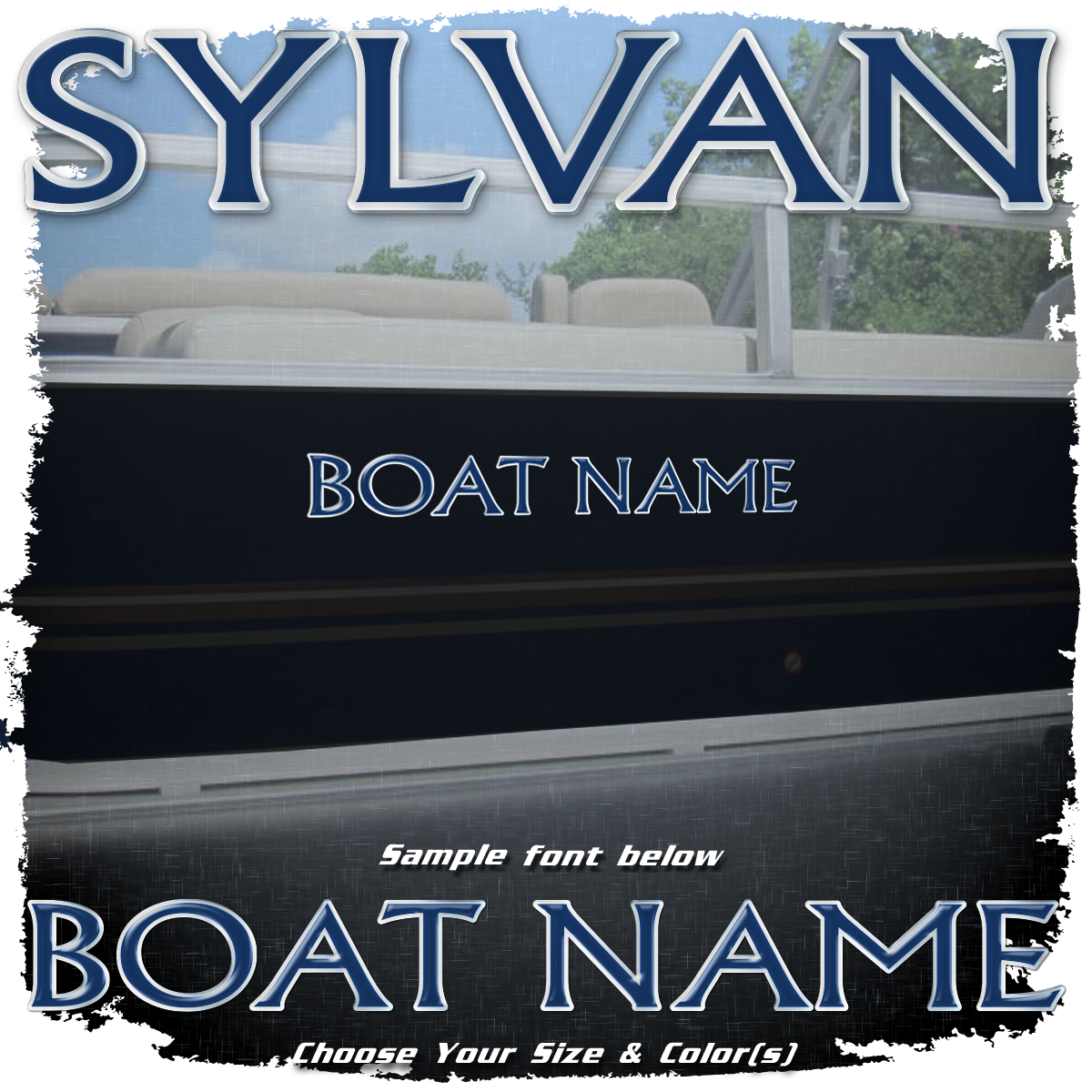 Domed Boat Name in the Sylvan Font, Choose Your Own Colors