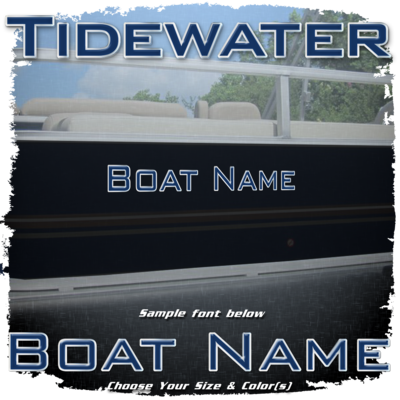 Domed Boat Name in the Tidewater Font, Choose Your Own Colors