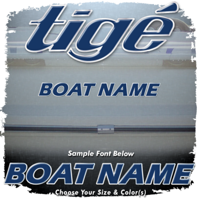 Domed Boat Name in the Tige Font, Choose Your Own Colors
