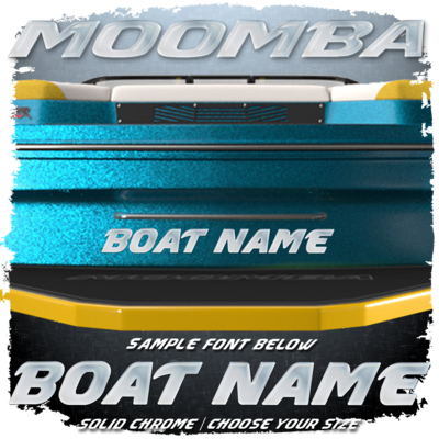 Domed Boat Name in the Moomba Font, Choose Your Own Colors