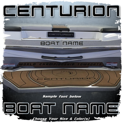 Domed Boat Name in the Centurion Font, Choose Your Own Colors