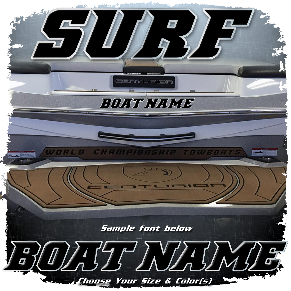 Domed Boat Name in the 2010 Centurion Surf Font, Choose Your Own Colors