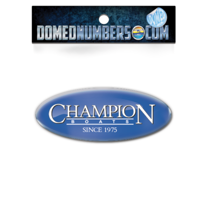 Domed Champion Oval Decal - Royal Version