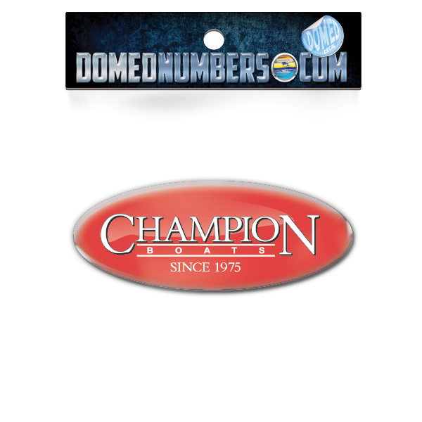 Domed Champion Oval Decal - Red Version