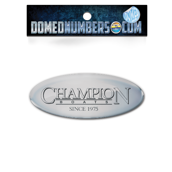 Domed Champion Oval Decal - Chrome Version