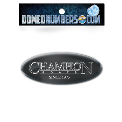 Domed Champion Oval Decal - Black Version