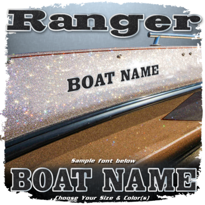 Domed Boat Name in the Ranger Font, Choose Your Own Colors