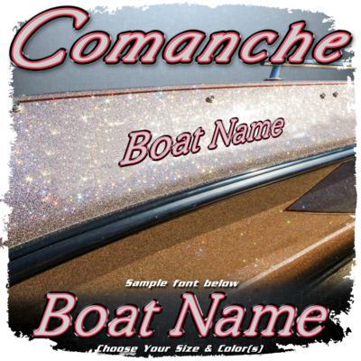 Domed Boat Name in the Ranger Comanche Font, Choose Your Own Colors