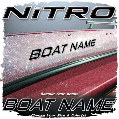 Domed Boat Name in the Nitro Font, Choose Your Own Colors