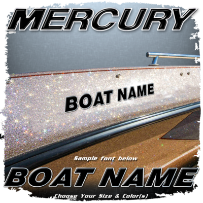 Domed Boat Name in the Mercury Font, Choose Your Own Colors