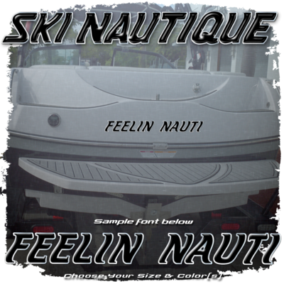Domed Boat Name in the 1980-01 Ski Nautique Font, Choose Your Own Size & Colors