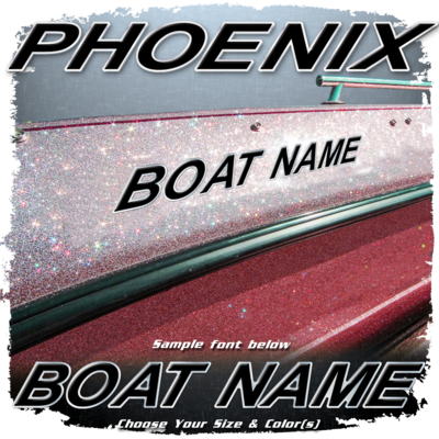 Domed Boat Name in the Phoenix Font, Choose Your Own Colors