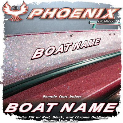 Domed Boat Name in the Phoenix Font, Factory Matched White, Red, Chrome & Black