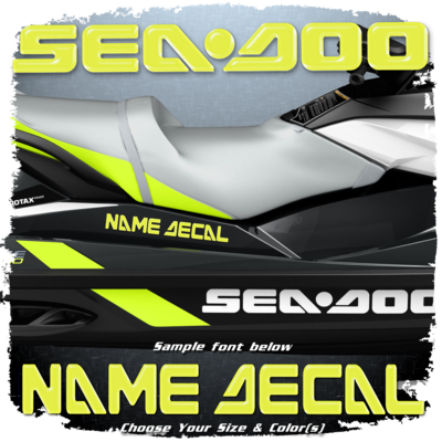 Domed Boat Name in the Sea Doo Font, Choose Your Own Colors