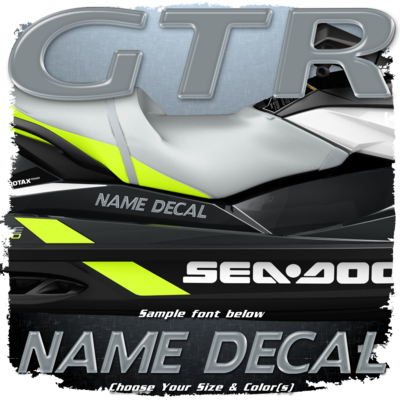 Domed Boat Name in the Sea Doo GTR Font, Choose Your Own Colors