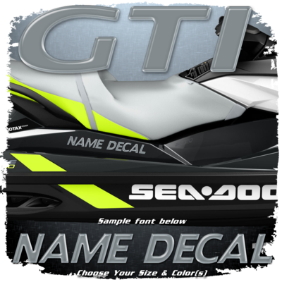 Domed Boat Name in the Sea Doo GTI Font, Choose Your Own Colors