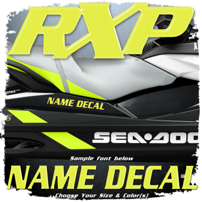 Domed Boat Name in the Sea Doo RXP Font, Choose Your Own Colors