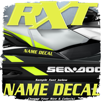 Domed Boat Name in the Sea Doo RXT Font, Choose Your Own Colors