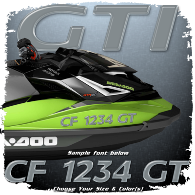 Sea Doo GTI Font Registration, Choose Your Own Colors  (2 included)