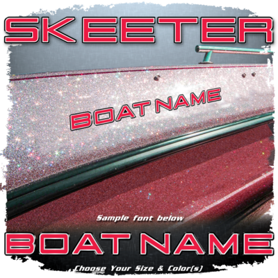 Domed Boat Name in the Skeeter Font, Choose Your Own Colors